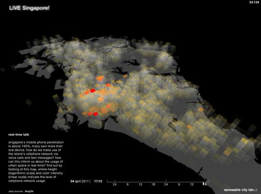 """Gráfico mostra o uso de celular em Singapura. """"Como isso poderia nos ser útil para pensar os usos do urbano"""", questiona."""