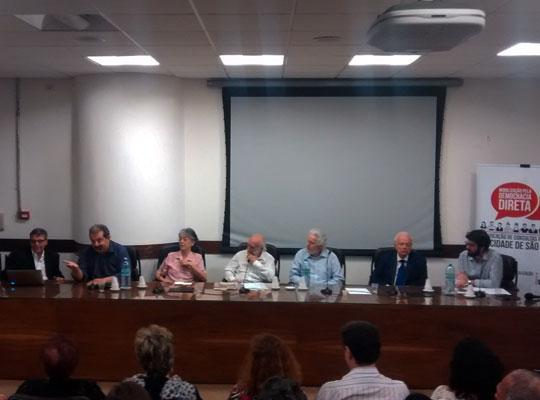 Debate detalhou histórico das tentativas de democracia direta em São Paulo.
