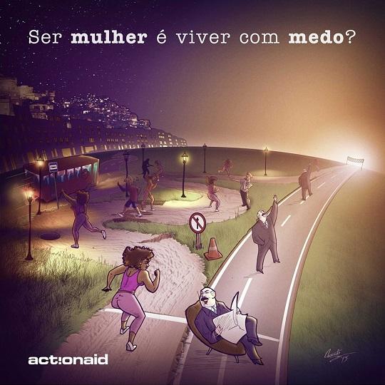 Campanha online da Action Aid questiona o espaço da mulher na cidade.