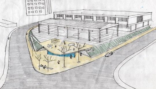 Rascunho da futura sede a ser aprovada; Centro de Memória ficaria embaixo do playground e da quadra poliesportiva.