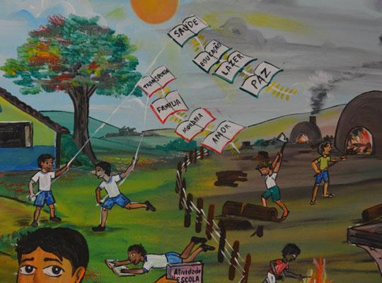 Pintura da aluna Helane, da EMEF Germano José do Nascimento, em Beberibe (CE), 1º lugar do Prêmio Peteca 2012