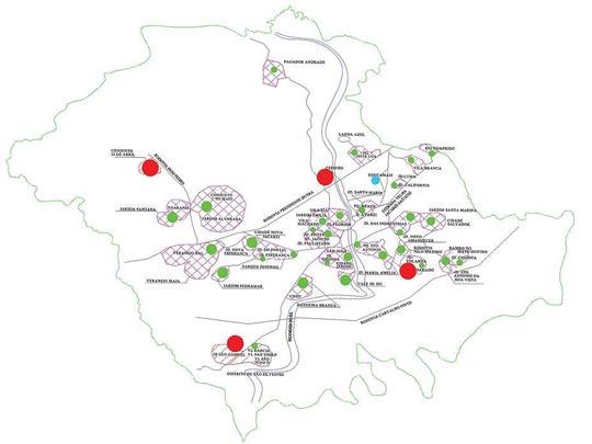 Mapa mostra os locais de atuação da van em Jacareí; oficinas em vermelho, workshops em verde e exposição final em azul.