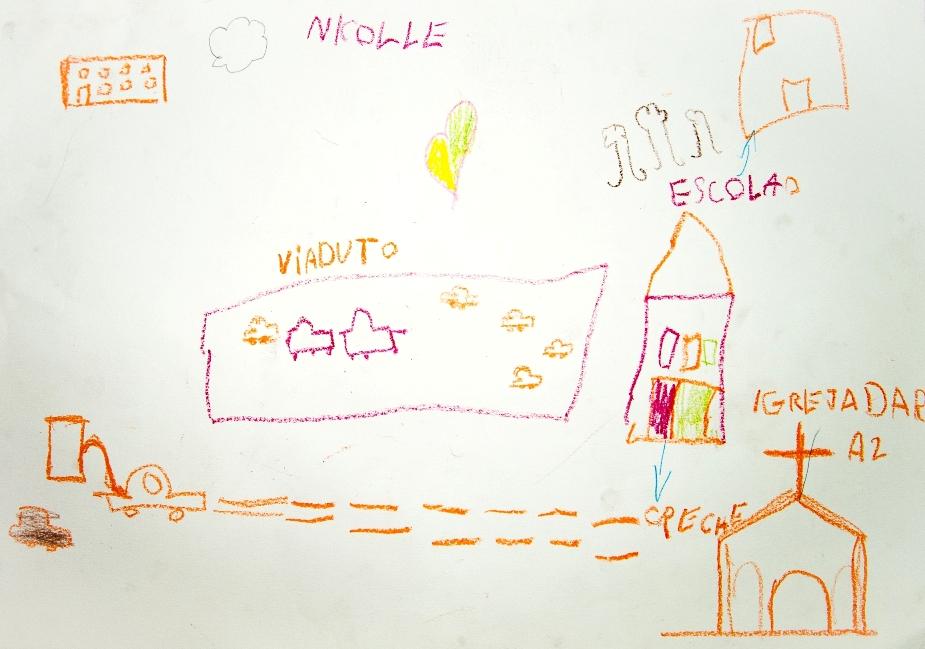 Desenho do bairro do Glicério feito por crianças
