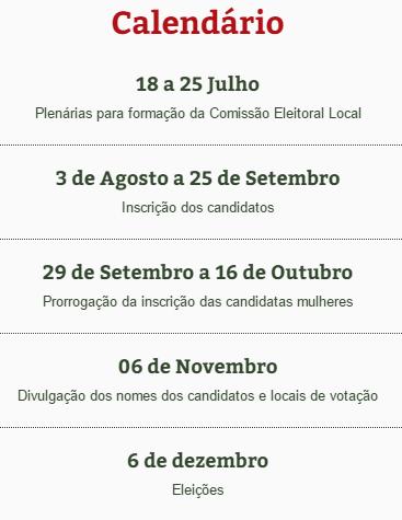Calendário do processo eleitoral para os Conselhos Municipais Participativos