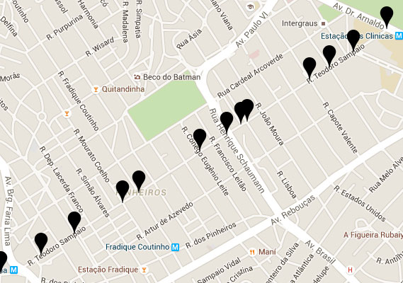 É possível conferir pelo GoogleMaps onde estão as placas alteradas.