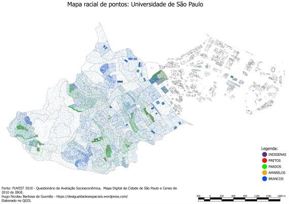 Mapa mostra distribuição racial da USP e de seu entorno.