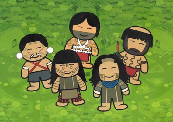 Capa do livro traz representação pictórica de 5 povos indígenas que habitam o Brasil.