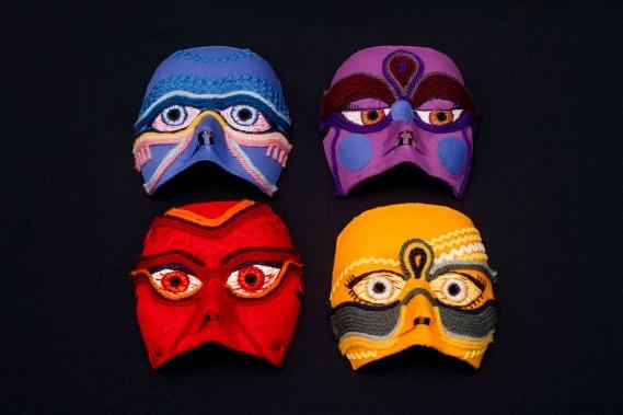 As quatro máscaras usadas por mulheres que não se sentirem à vontade para mostrar o rosto.