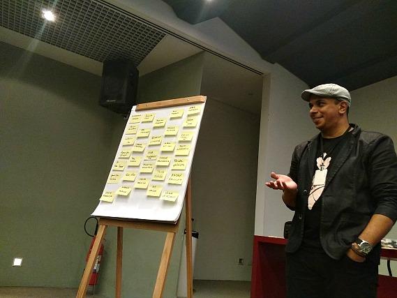 Edson Ignácio conduz atividade sobre patrimônio linguístico.