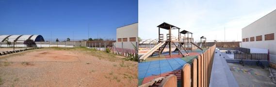 Antes e depois da Escola Municipal Barão de Mauá, em Colombo (PR)