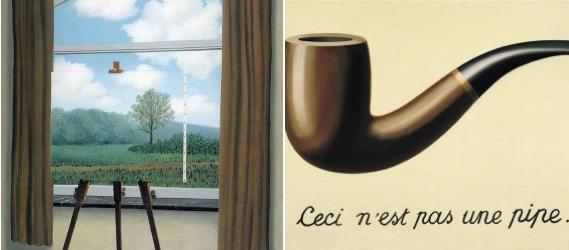"""""""A Condição Humana"""" e """"A Traição das Imagens"""" de René Magritte."""