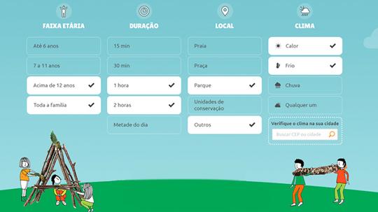 Desenvolvido pelo projeto Criança e Natureza, o aplicativo mapeia sugestões de atividades ao ar livre em ambientes como praças, parques e praias.