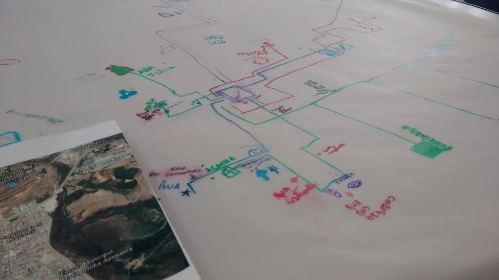 Mapa desenhado por um dos alunos da Escola Municipal Maria Ovidia Junqueira