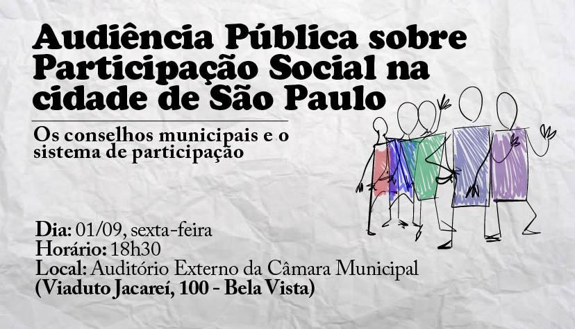 Convocatória da Rede Nossa São Paulo para audiência Pública sobre participação social