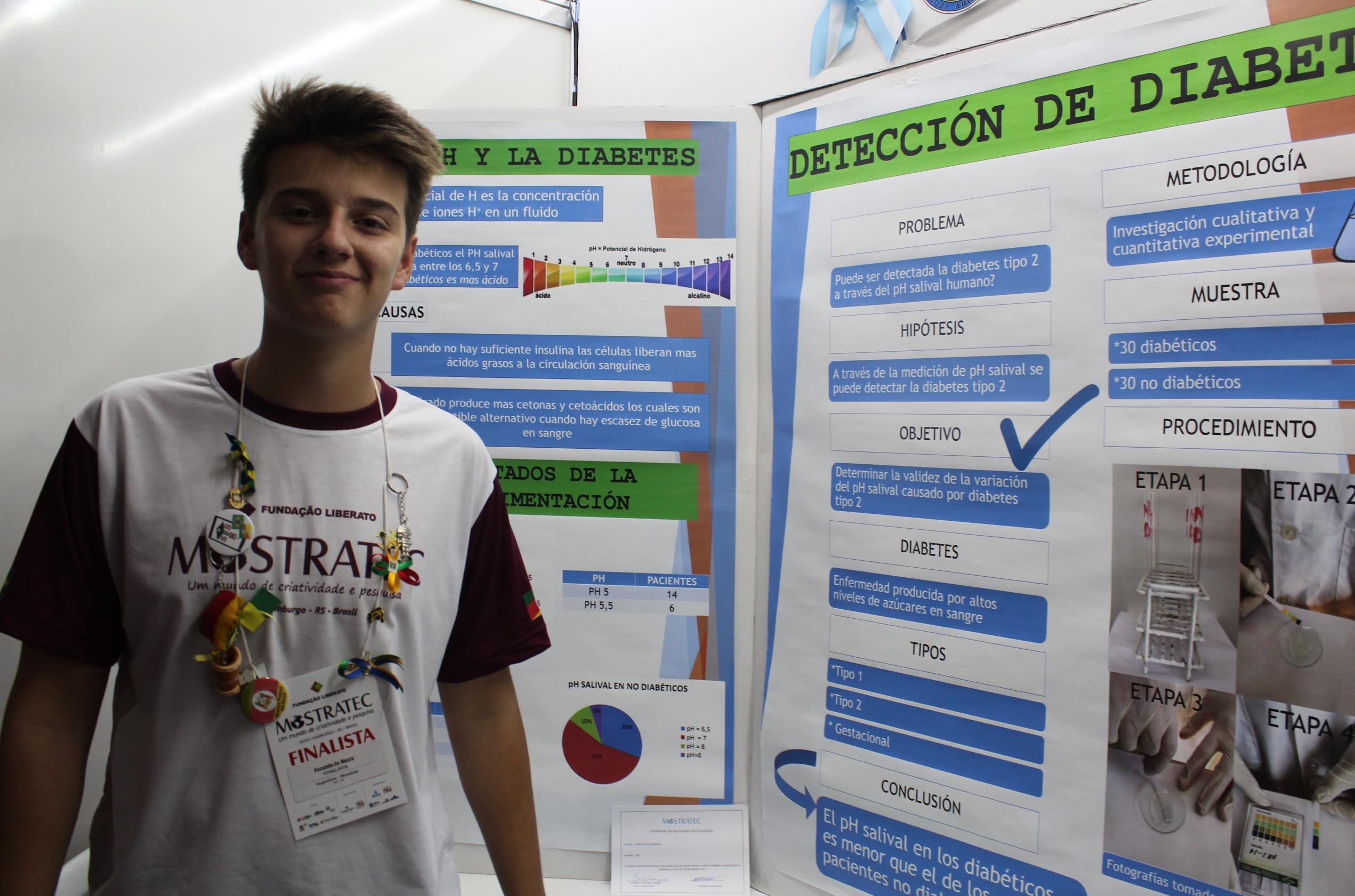 Na Mostratec, projeto argentino encontrou relação entre o pH da saliva e diabetes