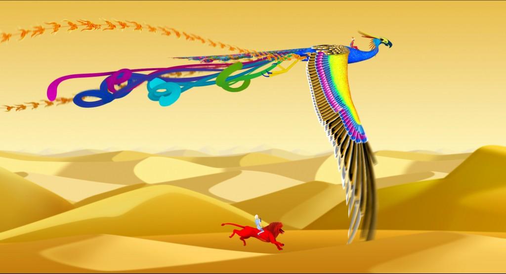 os dois protagonistas correm pelo deserto em animais mitológicos diferentes