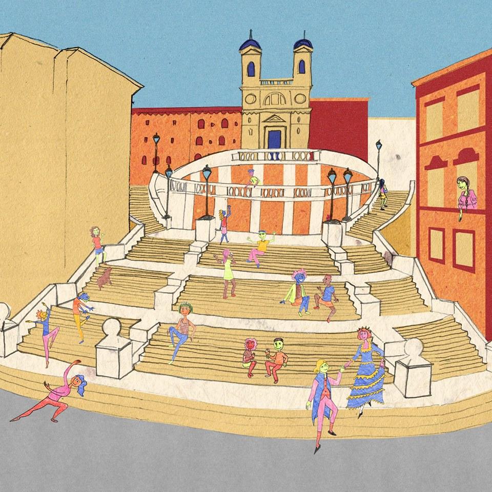 ilustração de uma escadaria de roma onde pessoas brincam e se divertem