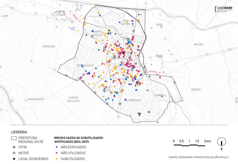 mapa que mostra onde aconteceu o incêndio do paissandú e como os prédios ao redor estão vazios
