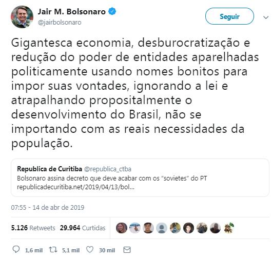 tweet do presidente