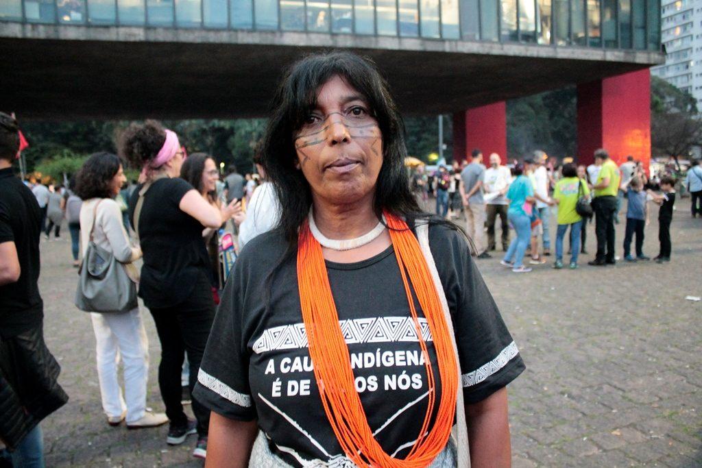 indígena do jaraguá na manifestação
