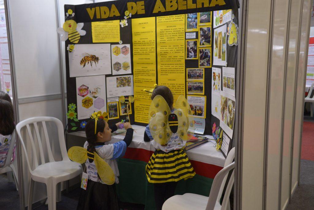 Crianças e jovens pesquisam questões atuais, como o desaparecimento das abelhas / Crédito: Mostratec