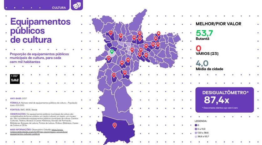 mapa mostra centralização de ofertas culturais