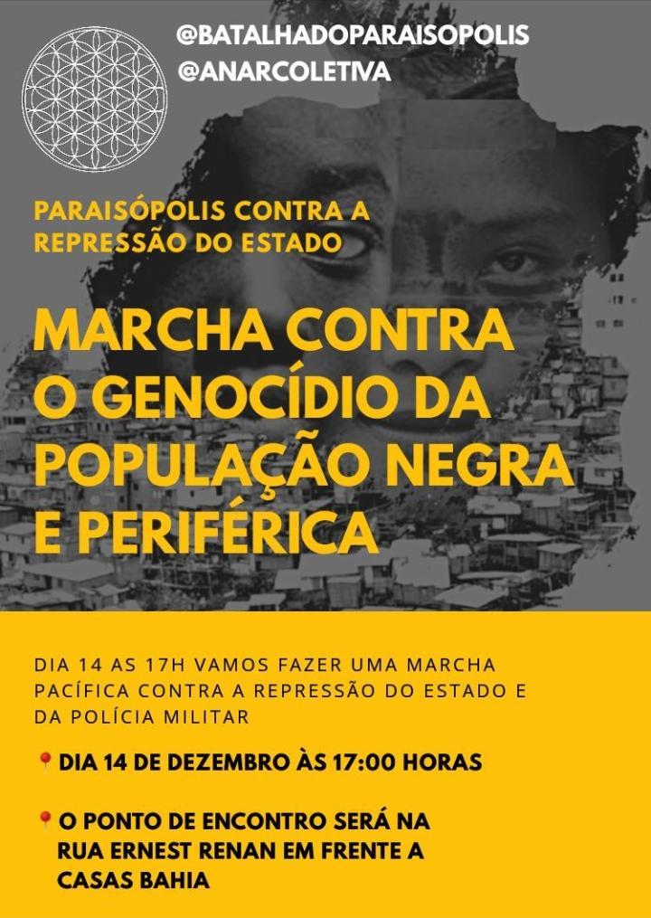 flyer da marcha em paraisópolis