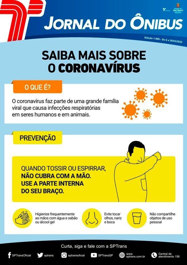 coordenadas dentro do panfleto da sptrans sobre o coronavírus