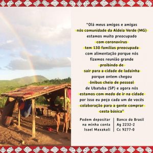 Doações para povos indígenas maxakali