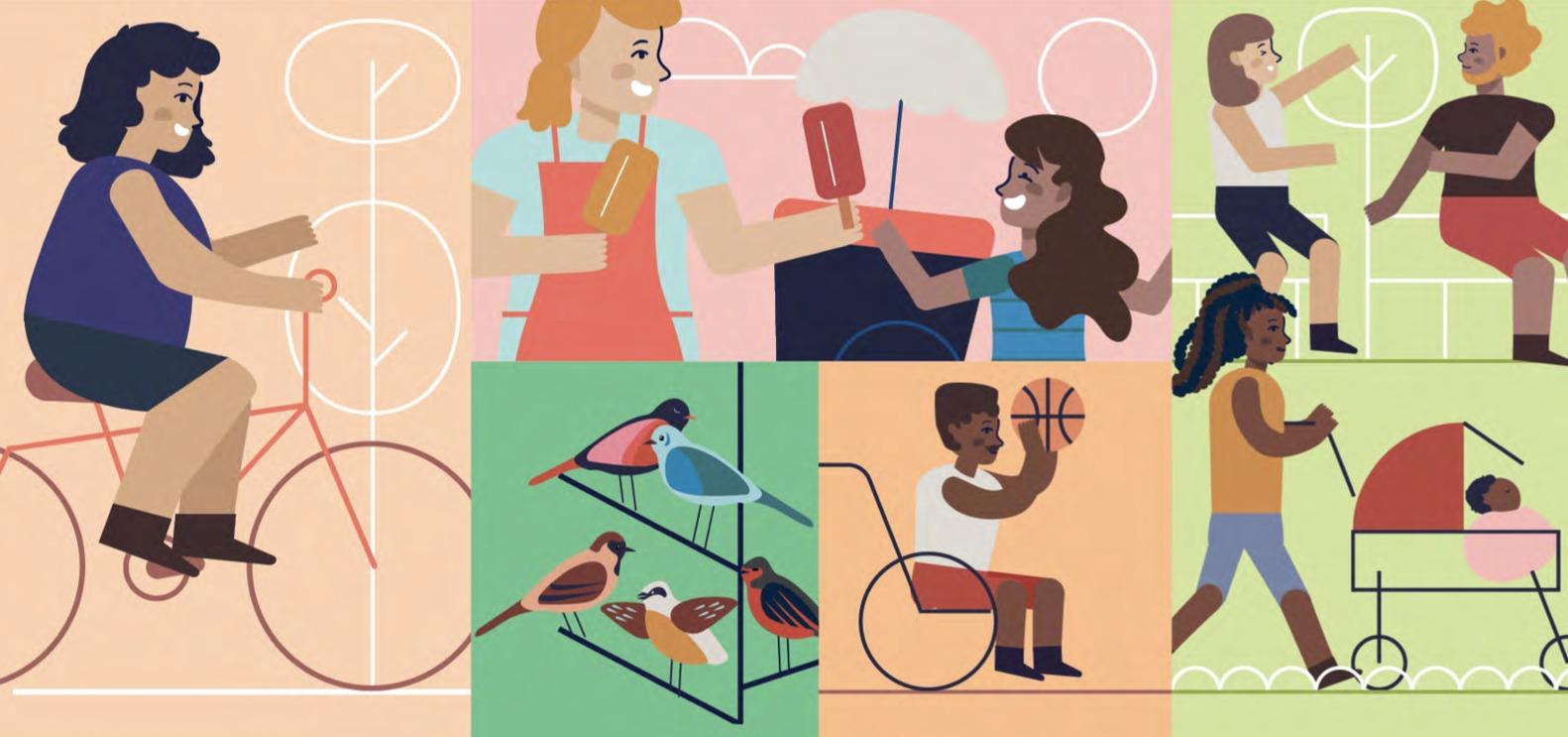 desenho sobre parques urbanas com perspectiva de gênero