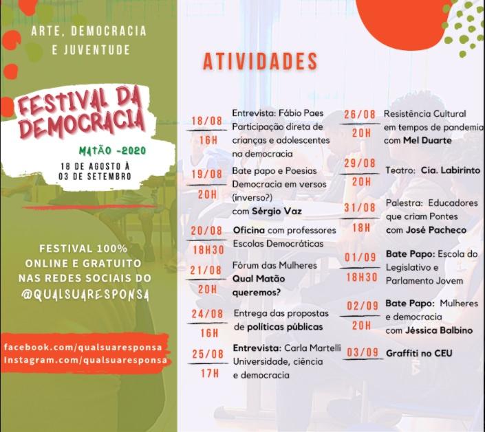 Cronograma do festival / Crédito: Instituto Terroá